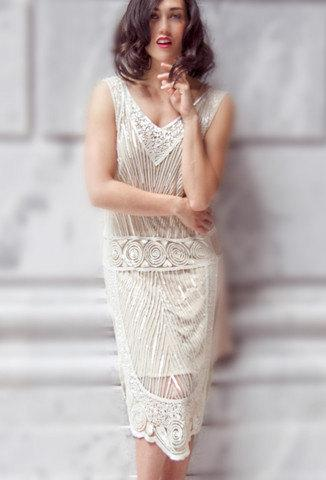 Crystalline 1920s Art Deco Beaded Vintage Fler The Great Gatsby Downton Abbey Wedding Gown Boudoir