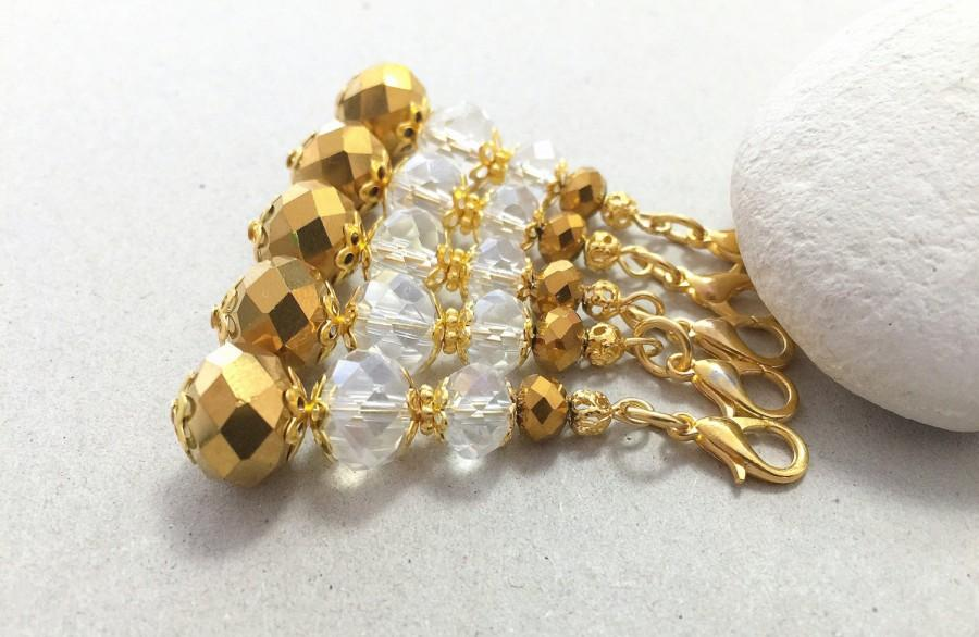 Hochzeit - Crystal Keychain, Small Keychain,Crystal Wedding Favors,Communion Favors, Gold Party Favors, Shower Favors, Gold Bag Charm, Beaded Keychain