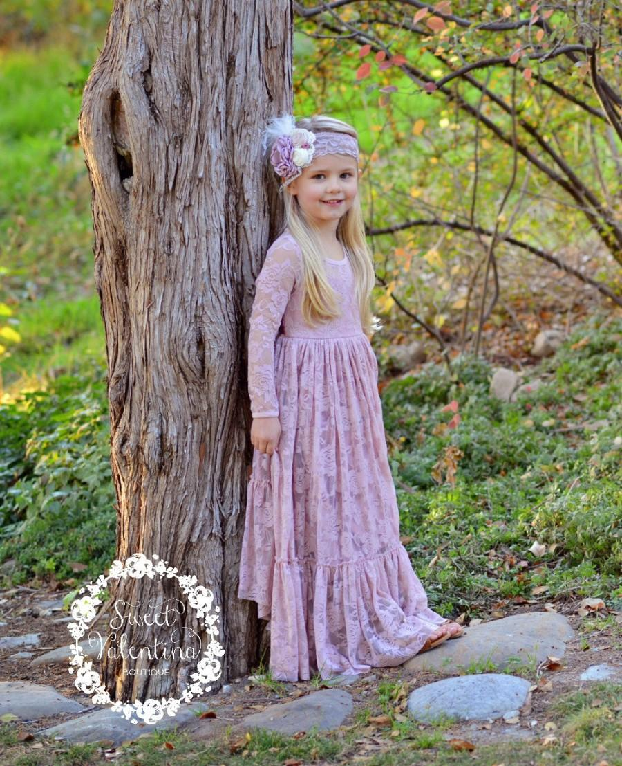 Hochzeit - flower girl dress,  pink girl lace dress, Dusty Rose lace dress, Country Rustic flower girl dress,long sleeve lace dress,Flower girl dresses