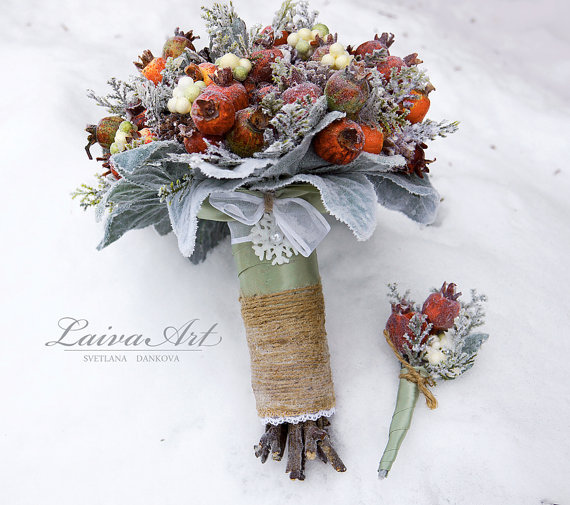 Wedding - Winter Wedding Bouquet Rustic Winter Wedding Alternative Bridal Bouquet Berries Bouquet Woodland Wedding with Boutonniere