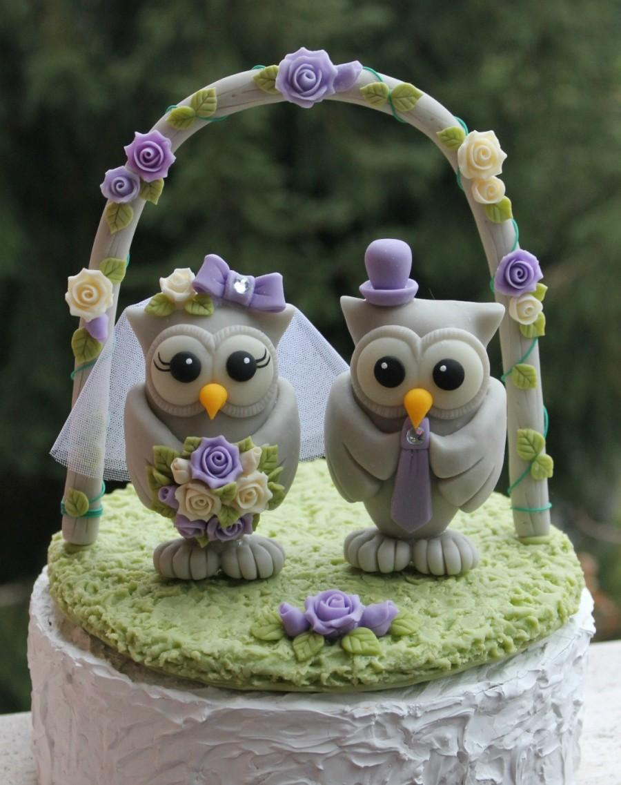 """Свадьба - Wedding owl cake topper with grass base and arch, BIG OWLS more than 4"""" tall, bride and groom love birds, purple lilac wedding"""