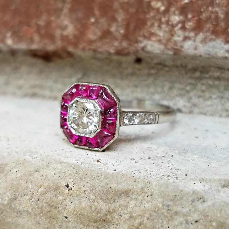 Wedding - Vintage Art Deco Ruby Diamond Halo Target Engagement Ring in Platinum