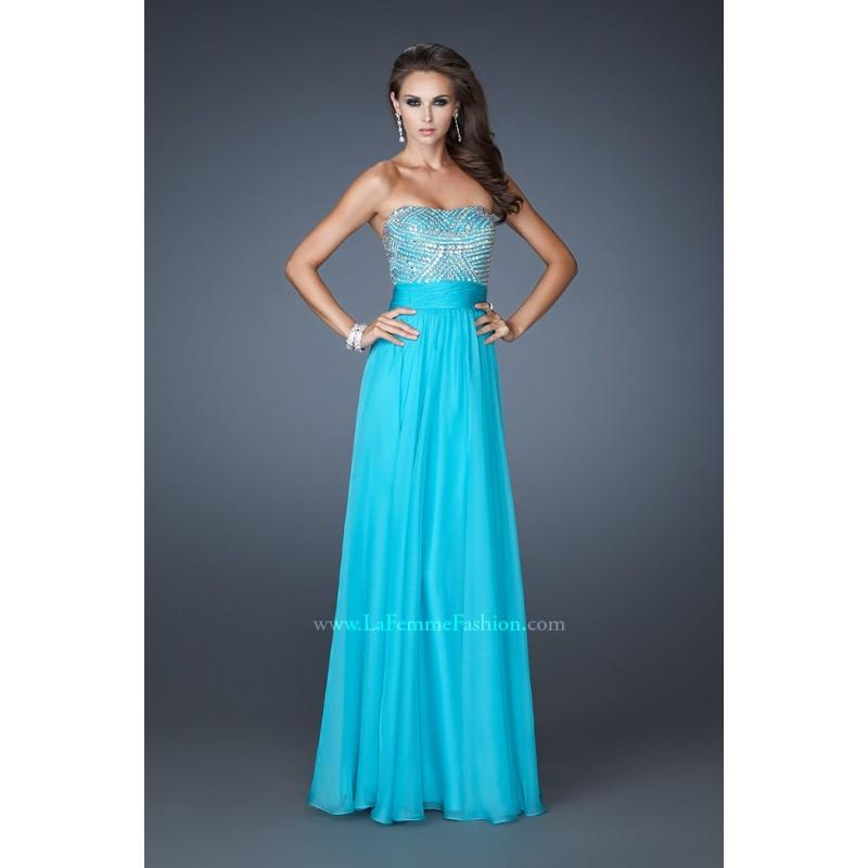 Hochzeit - Luxury 2014 Floor-length Chiffon Strapless A-line Beaded Empire Waist Turquoise Prom/evening/bridesmaid Dresses La Femme 18121 - Cheap Discount Evening Gowns