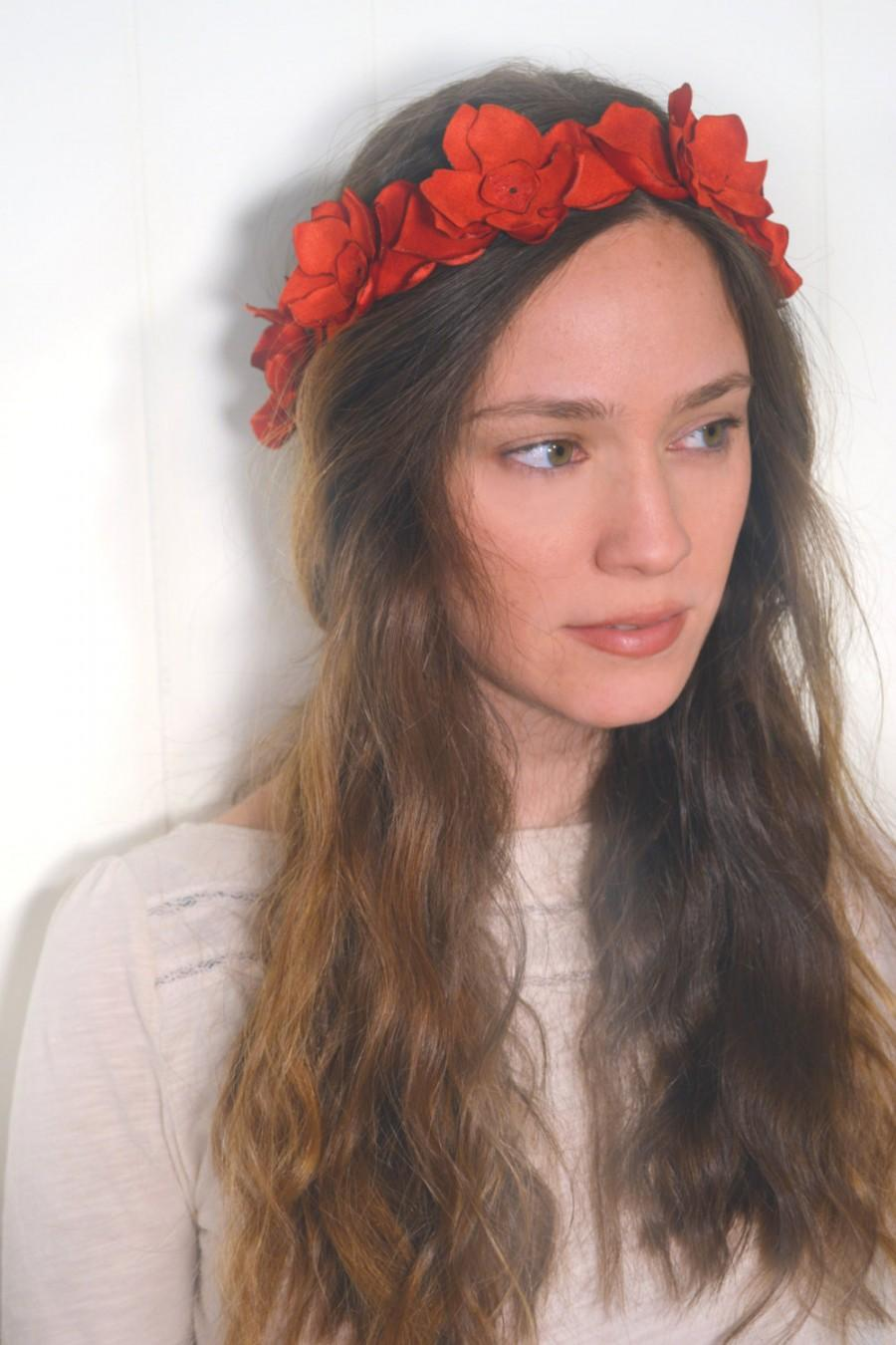 Valentines Wedding Red Flower Crown Romantic Bridal Hairpiece