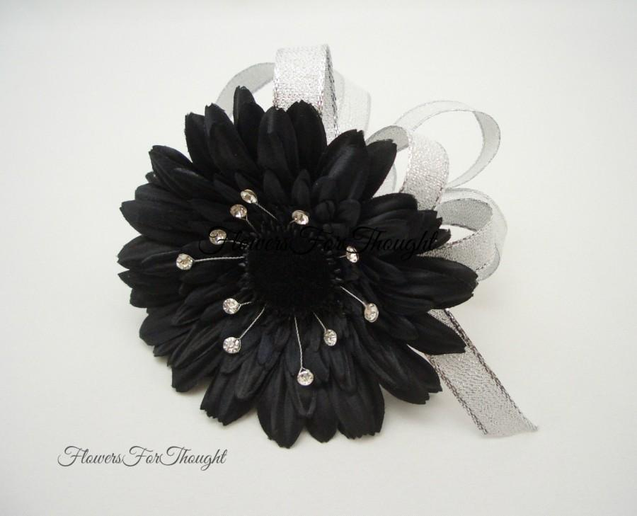 Mariage - Black Gerber Daisy Corsage with Rhinestones, Wedding, Prom, or Homecoming Gift