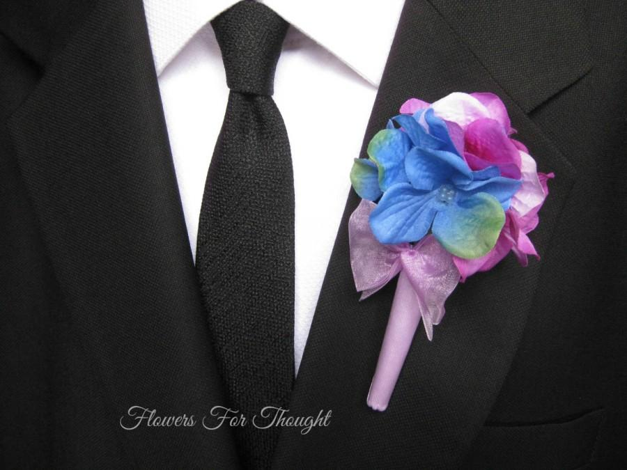 Свадьба - Hydrangea Boutonniere, Wedding Party Flowers, Buttonhole Lapel, Decoration for Groom or Groomsmen, FFT design, Made to order