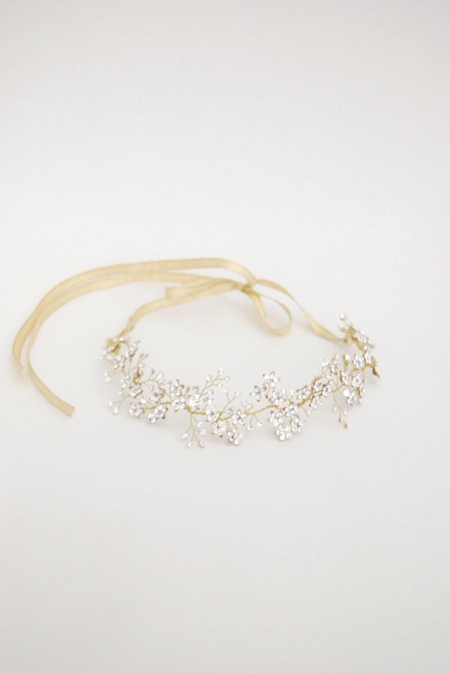 زفاف - Bridal hair vine, crystal flower halo, wedding headband, bride forehead band, crystal hair jewel, hair accessories, gold,silver,rose - Anais