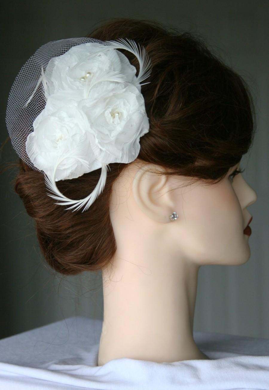 Hochzeit - Bridal Hair Flowers with feathers, birdcage veil & pearls
