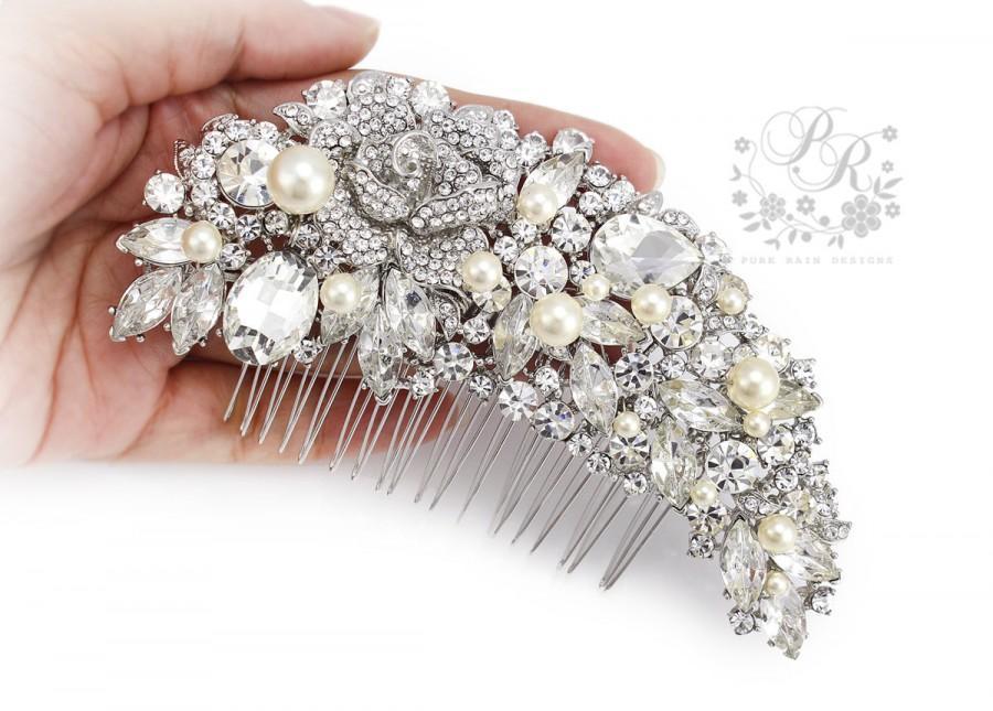 زفاف - Wedding Hair Comb Swarovski Pearl Rhinestone Hair Comb Bridal Hair Comb Wedding Jewelry Bridal Jewelry Hair Accessory Wedding Accessory rose