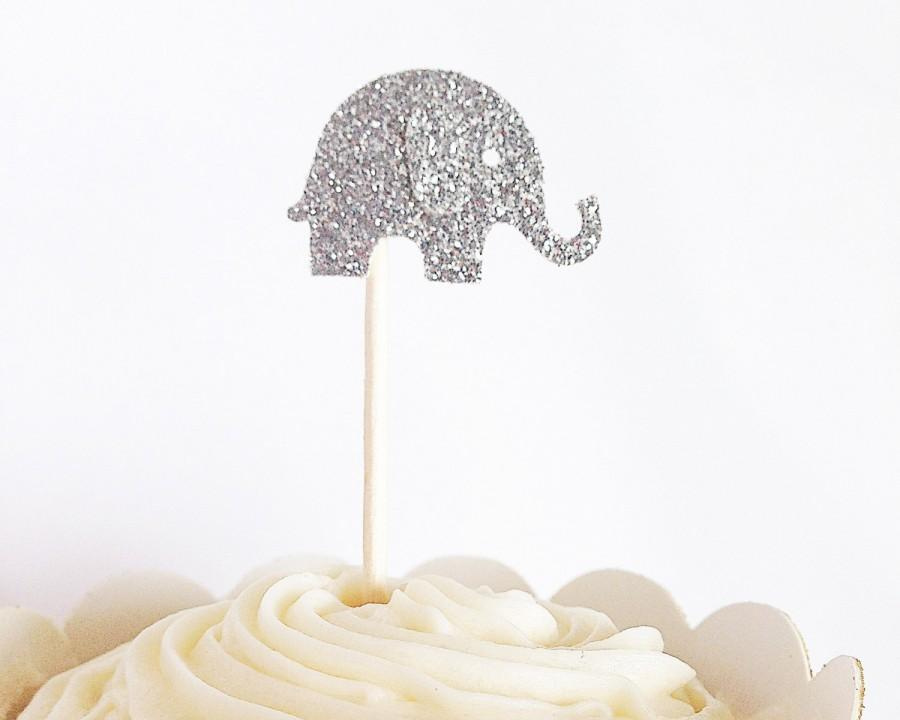 Свадьба - Silver Glitter Elephant Cupcake Toppers - Birthdays, Parties, Weddings, Decoration, Baby Shower