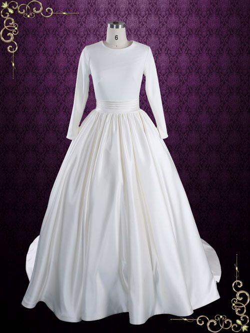 Свадьба - Modest Plain Ball Gown Wedding Dress With Long Sleeves