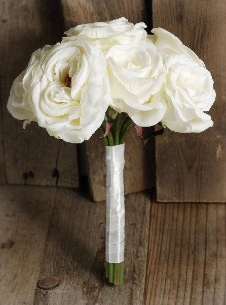 Mariage - Bouquet of White Roses - Bridal Flower Bouquet, Silk Flowers 10""