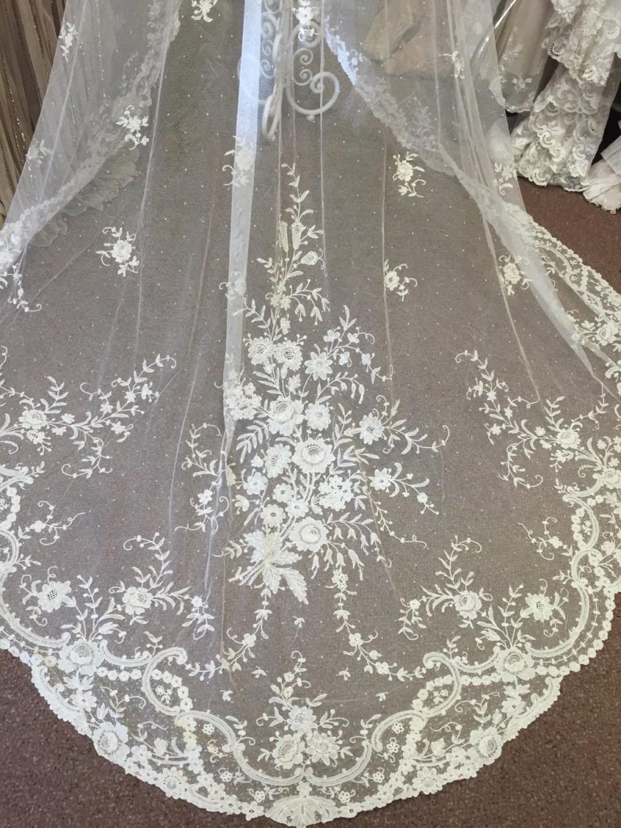 زفاف - Exquisite Antique Lace Wedding Veil - Cathedral Length - Rare original Antique Brussels Point de Gaze Roses- Beautiful! Cir@1890.