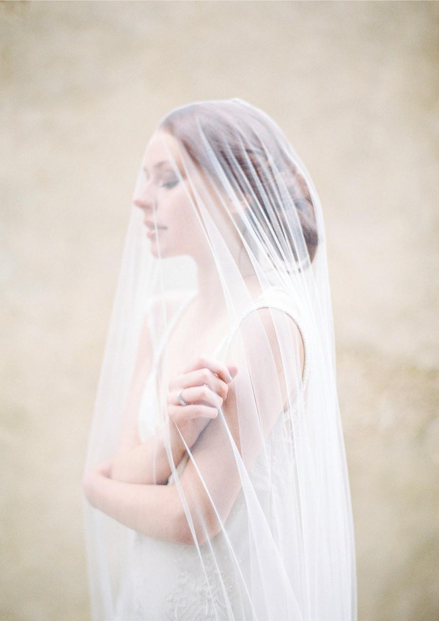 Hochzeit - Wedding Veil, Long tulle blusher veil, Cathedral Length Bridal Veil - Style 310