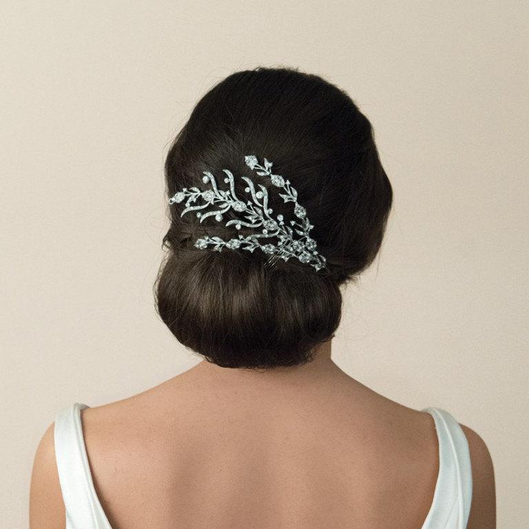 Mariage - Crystal Spray 1920's Deco Style Bridal Comb Rhinestone Wedding Bridal Headpiece - Art Deco - Art Nouveau -The Great Gatsby - Vintage Wedding