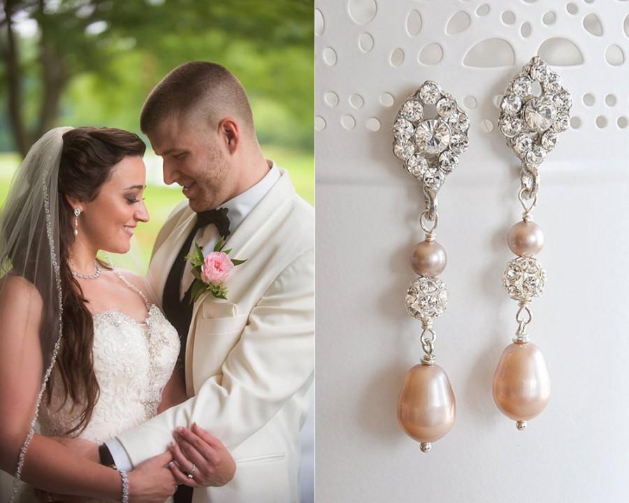 زفاف - Champagne Bridal Earrings, Vintage Style Oval Crystal & Teardrop Bridal Earrings, Swarovski Pearl Dangle, Art Deco Wedding Jewelry, TACIE