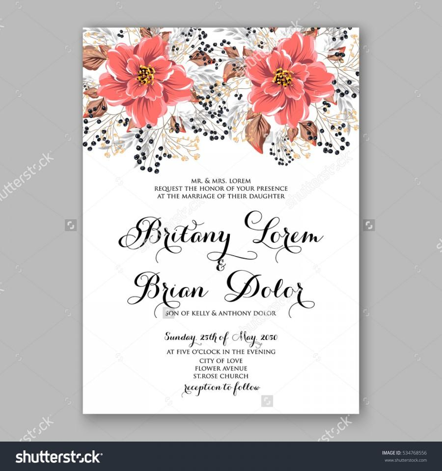 Mariage - Wedding Invitation Floral Bridal Wreath with pink flowers Anemones, fir, pine branches, wild privet berry, currant berry vector floral illustration in vintage watercolor style