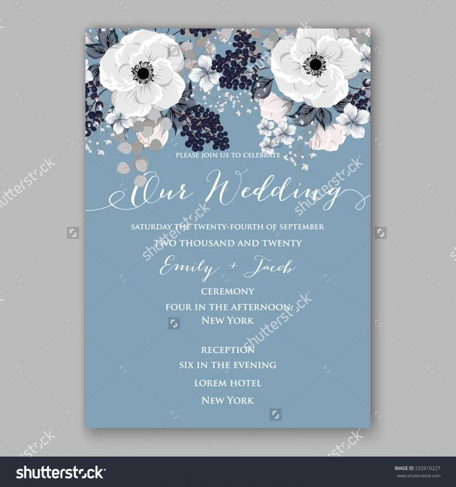 Wedding - Wedding Invitation Floral Bridal Wreath with pink flowers Anemones, eucaliptus, Mistletoe, wild privet berry, currant berry vector floral illustration in vintage watercolor style