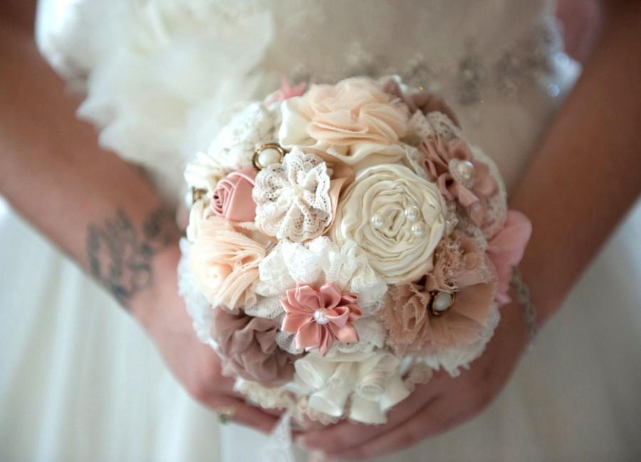 Mariage - wedding bouquet , fabric flowers, bridal bouquet , bridesmaids bouquets , blush latte ivory bouquet