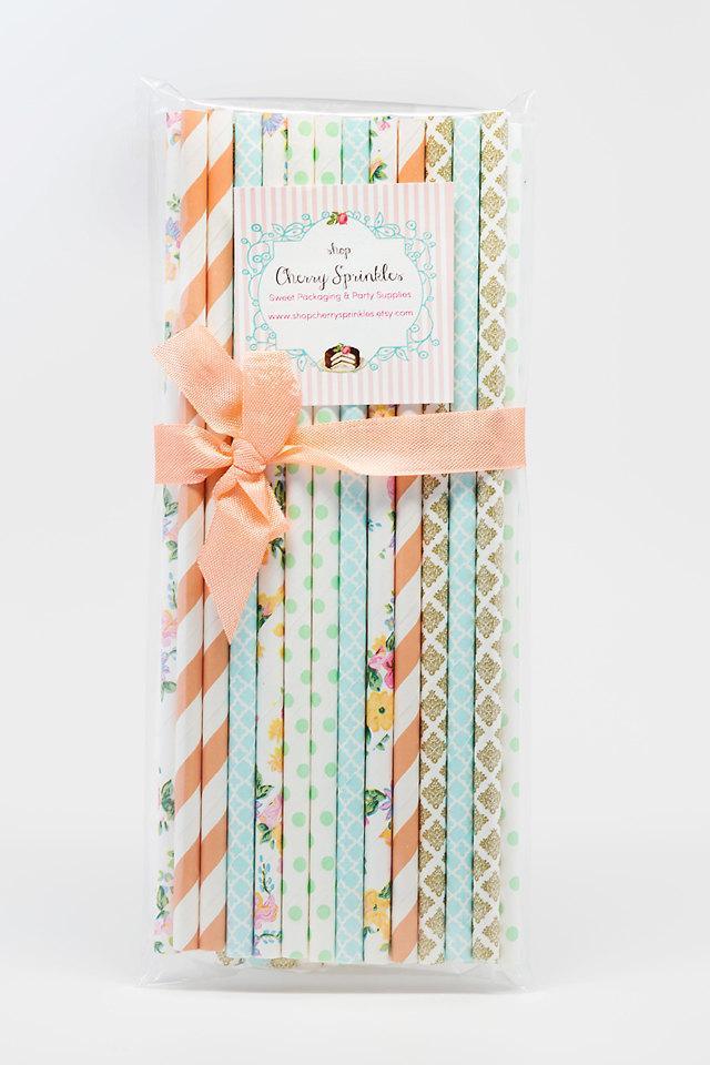 Mariage - Country Garden -Peach Straws *Paper Straw *Mint Straws *Flower Straws *Blue straws *Tea Party *Mothers Day Decor *Gold Straws *Wedding Decor