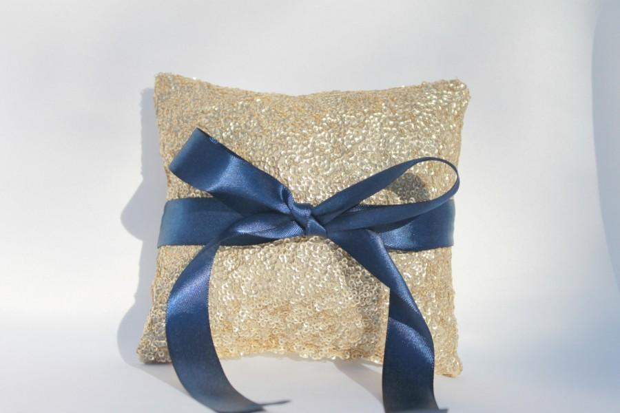 """Mariage - Gold & Navy Sequin Wedding Ring Pillow. 5""""x5"""" Gold and Navy Wedding Decorations. Gold Sequin Ring Pillow. Sequin Wedding Ring Pillow. Gold."""