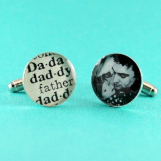 زفاف - Personalized Cufflinks, Fathers Day Gift Photo Cufflink + Vintage Daddy Definition Cufflink
