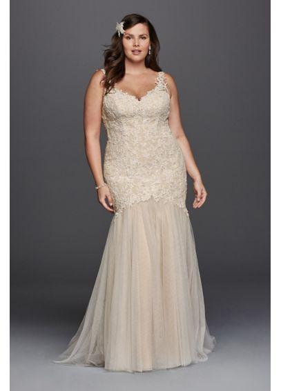 Hochzeit - Plus Size Beaded Trumpet Wedding Dress