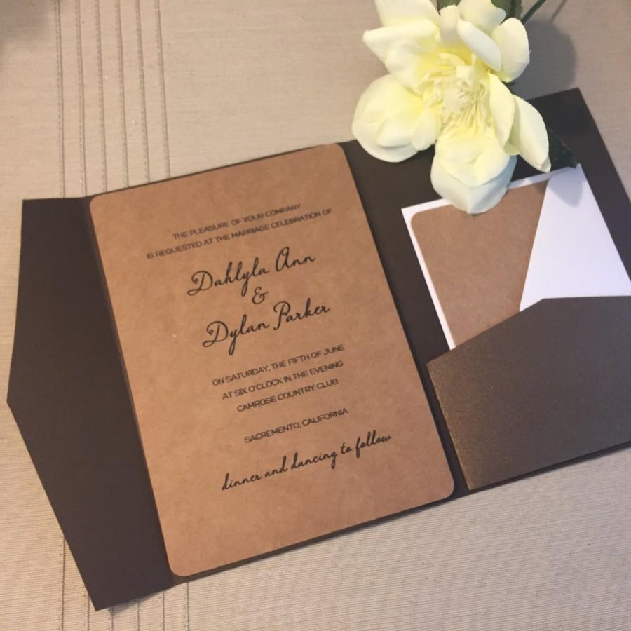 5x7 metallic brown tri fold single pocket invitation suite 2629264