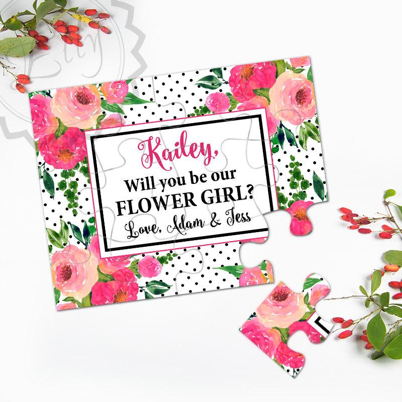 Will You Be My Flower Girl Puzzle Invitation Wedding Gift Puzzle