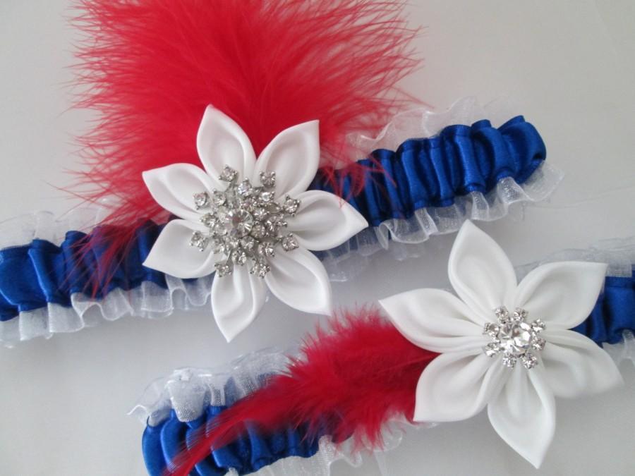 Mariage - PATRIOTIC 4th of JULY Wedding Garter Set, Red- White- Blue Bridal Garter, Royal Blue Garter, Air Force- Military Bride, Something Blue