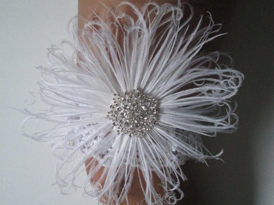 Wedding - Snowflake WEDDING Garter Set, White Lace Garter, Feather Garters, Vintage- 20s-Gatsby Bride, Rustic, Country