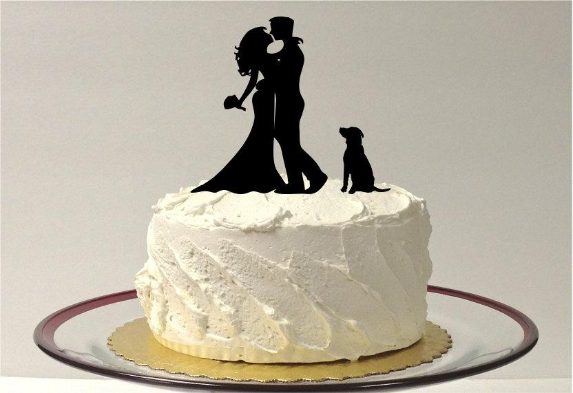 Mariage - DOG + BRIDE + GROOM Silhouette Wedding Cake Topper Silhouette Cake Topper with Pet Dog Family of 3 Cake Topper Hair Down Silhouette