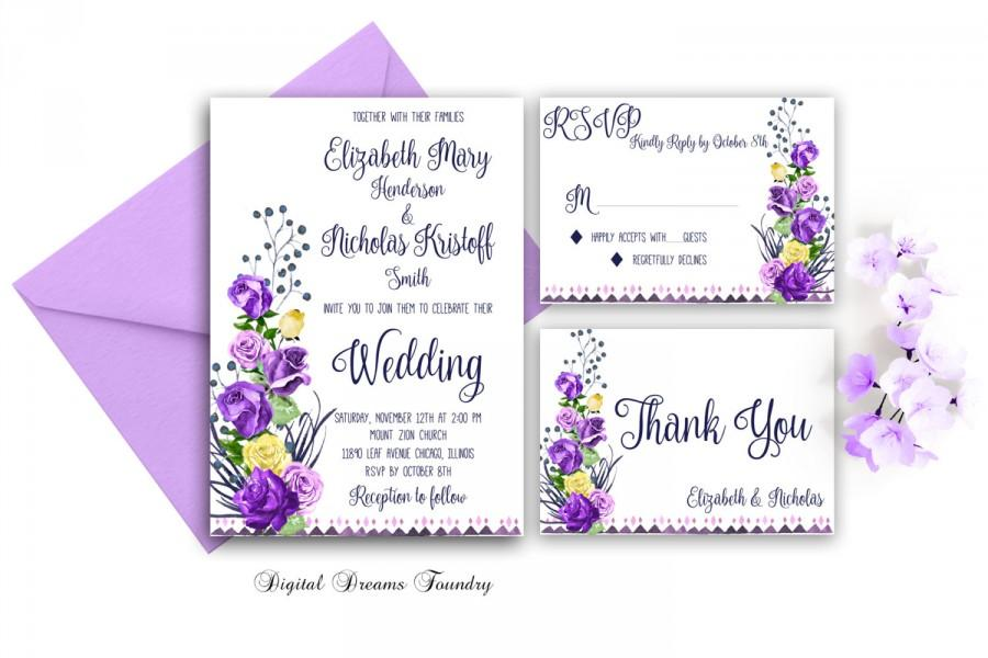 Purple Rose Wedding Invitations: Romantic Wedding Invitation Purple Floral Wedding