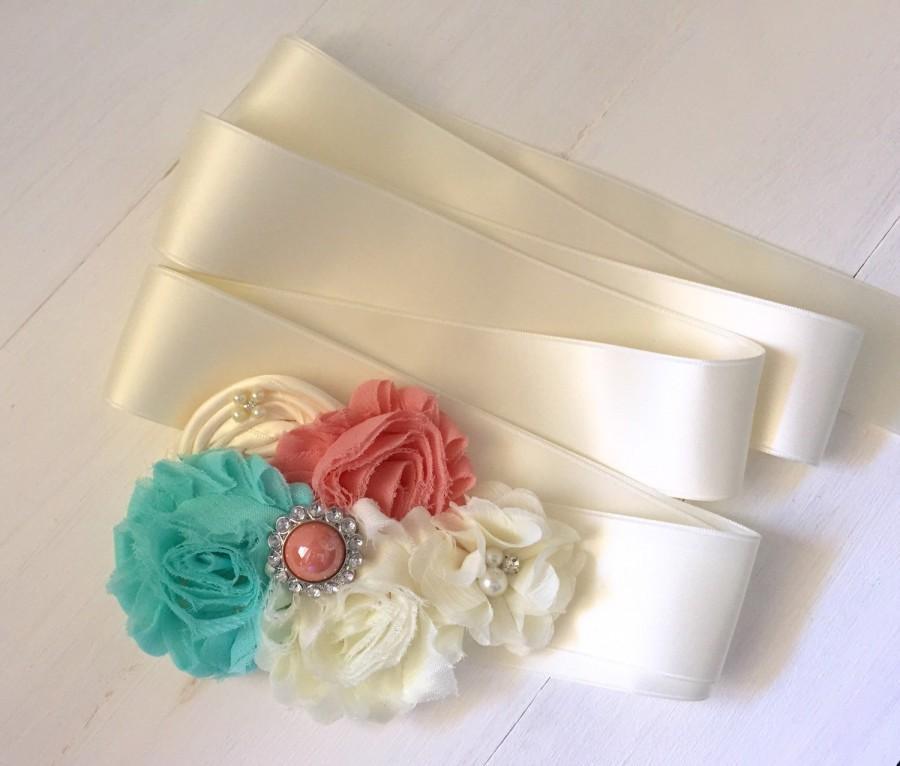 Mariage - Coral and Aqua Bridal Sash, Flower Girl Sash, Maternity Sash, Bridal Belt, Wedding Sash, Bridesmaid Sash, Custom Sash, Satin Sash