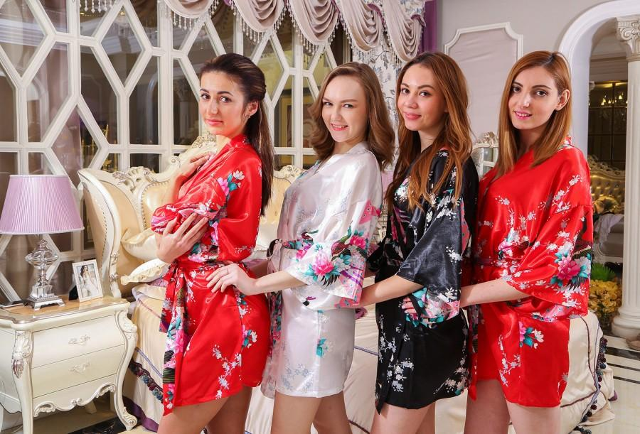 Red Bride Silk Robe Bridesmaid Robes Designer Bathrobe Wholesale ...