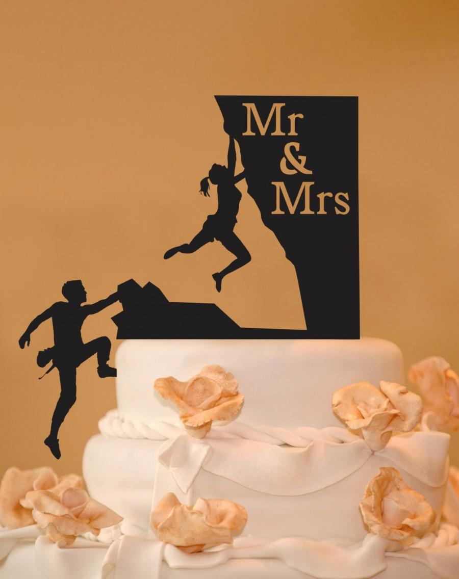 Mariage - Rock Climbing couple Mr. & Mrs. wedding cake topper - rock climbing cake topper -  silhouette topper -  rock climbers wedding cake topper