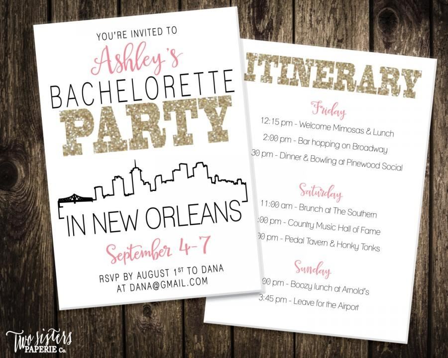 New Orleans Bachelorette Party Invitation And Itinerary   NEW ORLEANS  Bachelorette Party   Printable Invitation