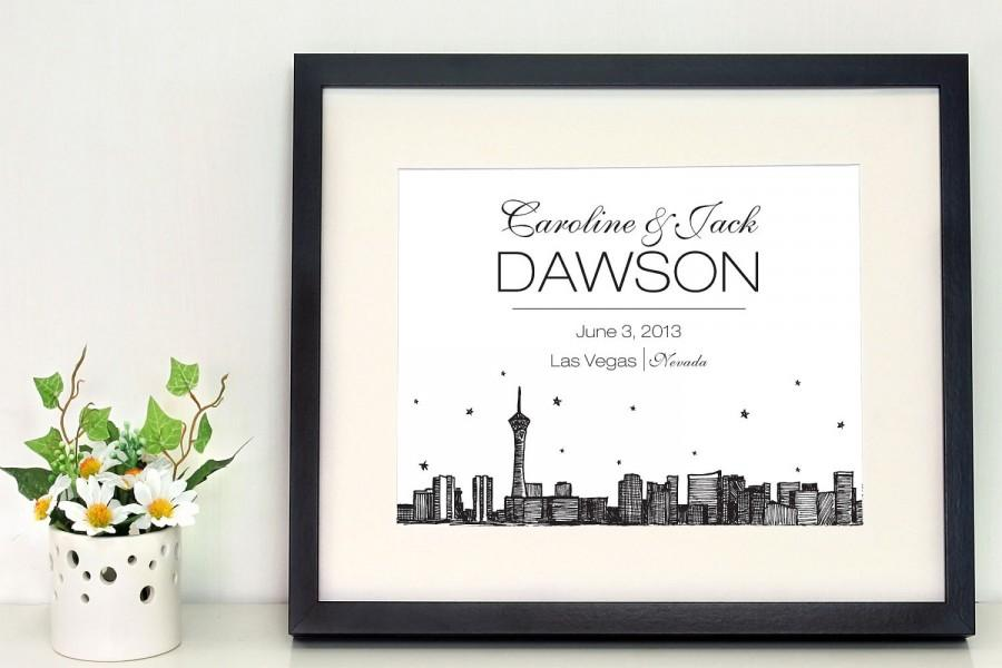 Wedding - Las Vegas Skyline 8 x 10 inch personalized wall art, gift for newlyweds, city skyline, wedding gifts, housewarming gifts