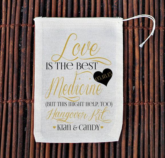 Mariage - Fancy Love is The Best Medicine Hangover Kit Wedding Welcome Bag- Muslin Cotton Mini Favor Bags