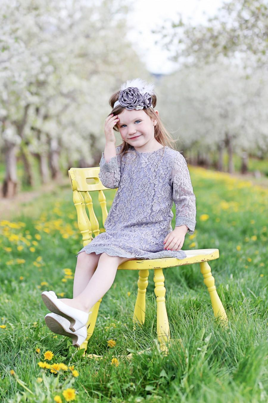 Wedding - The Simply Grey Lace Flower Girl Dress