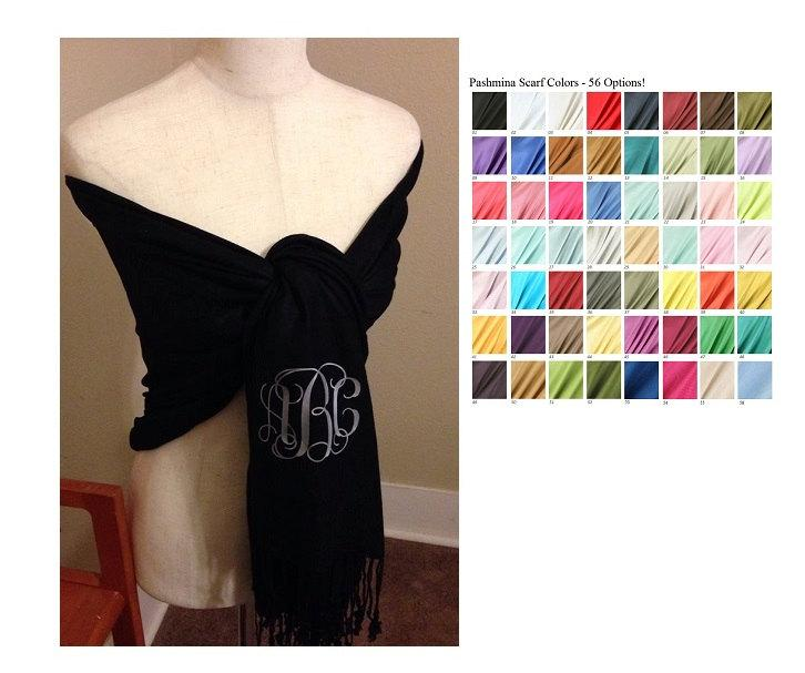 Mariage - Bridesmaid Gift - Mother of the Bride - Mother of the Groom Gift - Pashmina Shawl - Monogrammed Scarves - 50 Colors - The Applewood Lane