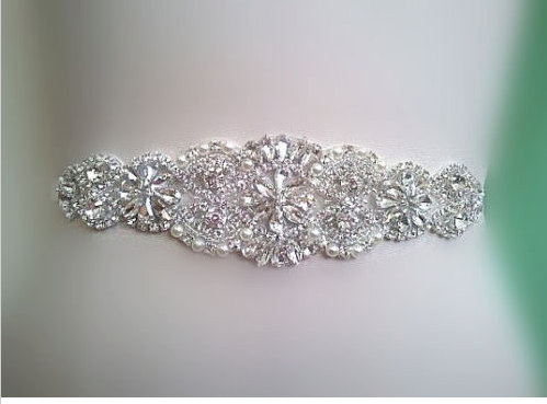 Mariage - Wedding Sash Belt, Bridal Sash Belt - Crystal Sash Belt pearls and crystals