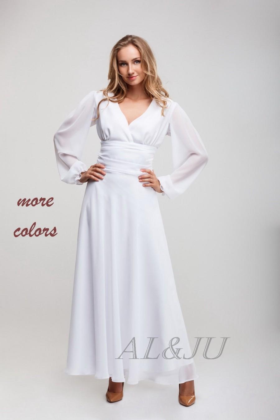 Wedding - White long dress, chiffon dress floor length, evening dress with sleeves,white wedding dress, bridesmaid dress chiffon, V-neck dress.