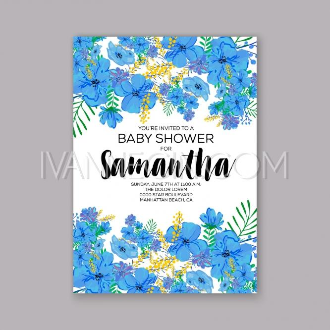 Wedding - Baby shower floral invitation with hibiscus flower and tropical leaves, watercolor flower wreath - Unique vector illustrations, christmas cards, wedding invitations, images and photos by Ivan Negin