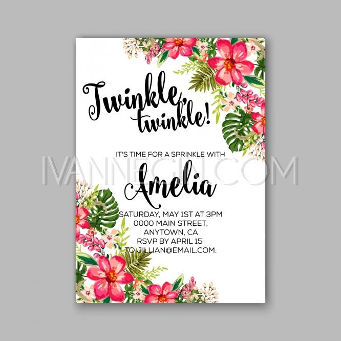 Baby shower floral invitation with hibiscus flower and tropical baby shower floral invitation with hibiscus flower and tropical leaves watercolor flower wreath unique vector illustrations christmas cards stopboris Image collections