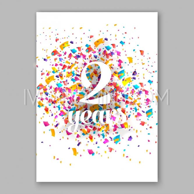 Birthday Invitation And Greeting Card Sign Over Confetti Vector Holiday Illustration