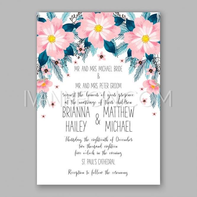Wedding - Peony wedding invitation card floral printable template - Unique vector illustrations, christmas cards, wedding invitations, images and photos by Ivan Negin