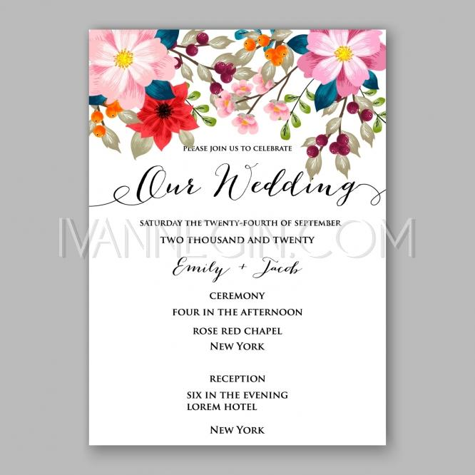 Peony Wedding Invitation Card Floral Printable Template ...
