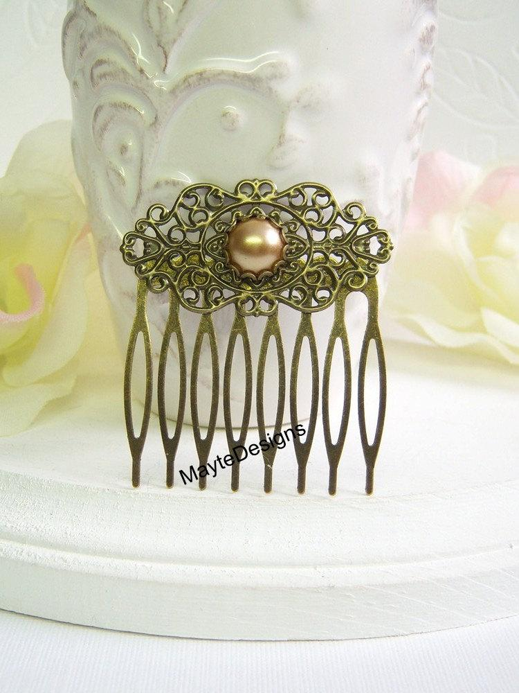 Свадьба - Camel Pearl Vintage Hair Comb/Bridal Pearl Hair Comb/Pearl Vintage Hair Comb
