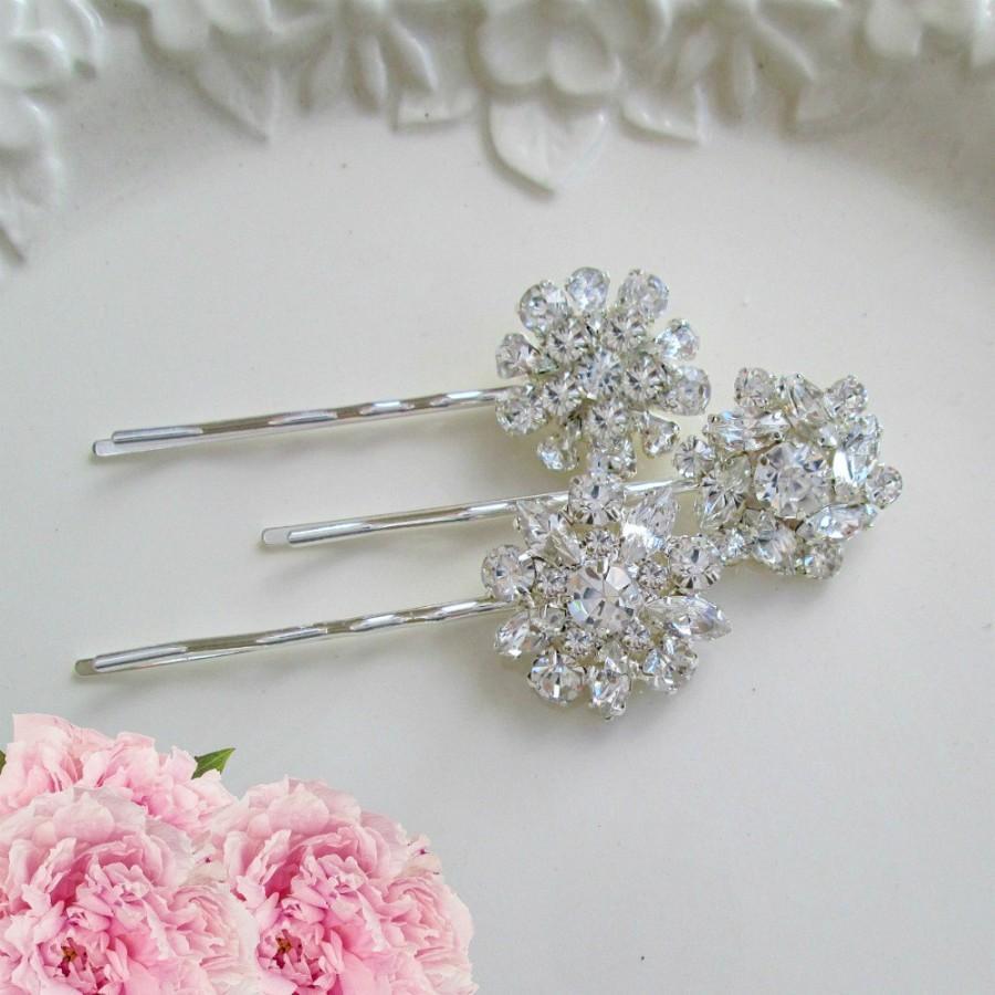 Wedding Hair Pins Silver Bobby Pins Crystal Hair Clips Bridal